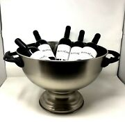 Extra Large Stainless Steel Centerpiece Serving/punch Bowl W/antler Handles