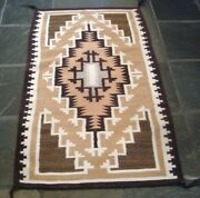 Vintage Pawn Two Grey Hills Wool Rug 44 X 26.25 Hand Woven C1940s/50s