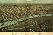 Poster, Many Sizes Map Of East Saginaw, Michigan, 1867