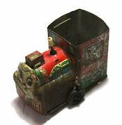 Old Vintage Unique Fine Painted Litho Tin Train Toy Collectible