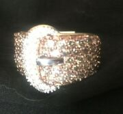 Champagne Diamonds Buckle Ring 2ct 10kt Gold Size 8 - New W Tags Lots Of Flash