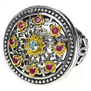 Gerochristo 2445 Solid Gold Silver And Stones Multicolor Medieval Byzantine Ring
