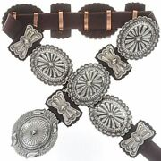 Native American Concho Belt Second Phase Style Hand Hammered Sterling Silver