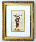 Hungarian Antique Watercolor Pencil Drawing Man In Ethnic Dress Signed Andor