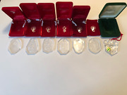 7 Piece Set Of Waterford Crystal Christmas Ornaments 1990s