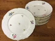 13 Rosenthal Germany Floral 9 3/4andrdquo Dinner Plates Ivory Gold Trim Embossed 2528