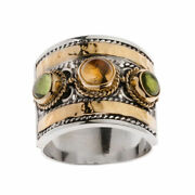Savati 22k Solid Gold And Sterling Silver Multi Stone Byzantine Large Band Ring