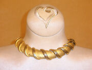 Chunky Reversible Gold Tone Necklace By Ellen Kiam Lia Sophia - Very Couture