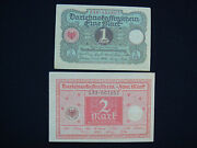 Lot Old German 1920 Paper Banknotes Uncirculated 1 And 2 Mark Reichs Money - 371
