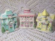 Shabby Christmas Chic Village Houses Small Victorian Style Church School Lot 3