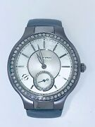 Philip Stein Classic Round White Dial Watch Mother Of Pearl Diamonds Slate