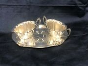Asco Scalloped Creamer And Sugar With Embossed Tray Silver Plated Epc