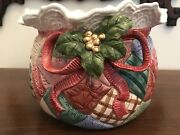 Fitz And Floyd Christmas Quilt Cache Pot Bowl Discontinued