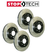 Stoptech Fronts And Rears Slotted Sport Brake Rotors Fits 2008-15 Mitsubsishi Evo