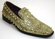 Menand039s Dress Casual Fancy Shoes Slip On Loafers Gold Multi Spikes Smoker 6769