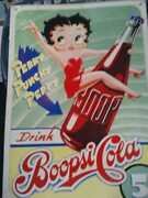 Collectible Vintage Repro Betty Boop Boopsi Cola Tin Metal Soda Drink Sign Diner