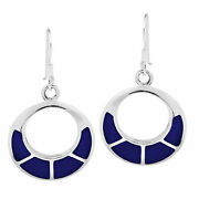 Classy Open Circle Blue Lapis Inlaid Sterling Silver Dangle Earrings