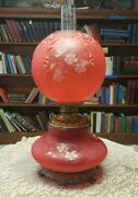Rare 1892 Ruby Red Kerosene Victorian Gone With The Wind Parlor Table Lamp