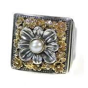 Gerochristo 2207 Solid Gold Sterling Silver And Pearl Medieval Cocktail Ring