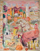 Barbara Shermund / Fine Pencil Ink And Watercolor Design For A New Yorker Cover