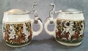 Lot Of 2 Kurt Hammer Mini Beer Steins With Pewter Lid From Western Germany