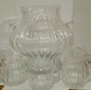 Large Swerved Glass Punch Bowl With Handles And 7 Cups Set