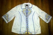 Bob Mackie Wearable Art Jacket Cut-out Embroidered 1xl White Blue Yellow Floral