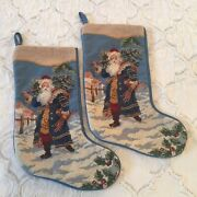 Lot Of 2 Hand Stitched Needlepoint Christmas Stockings Santa Claus And Presents