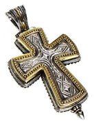 Gerochristo 5208 Sterling Silver And 18 Gold Medieval Locket Cross Pendant