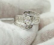Ijdn 14k White Gold Solitaire Marquise Diamond Ring.princess And Baguettes On Side