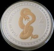2013 Gilded Snake 1 Oz Proof Silver Lunar Coin New Zealand Mint Mintage 2013