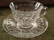 American Fostoria Crystal Footed Cup And Saucer Vintage