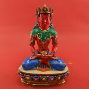 Hand Painted 10.5andrdquo Crowned Amitabha Buddha Copper Statue From Patan Nepal