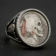 1937 Indian Head Buffalo Hobo Nickel Skull Face Zombie Coin Sterling Silver Ring