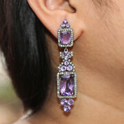 Designer Pave Diamond Amethyst Dangle Earrings 925 Sterling Silver Jewelry Gifts