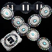 Navajo Kirk Smith Old Pawn Style Turquoise Multi-gems Stamped Silver Concho Belt