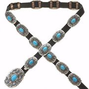 Navajo 1950s Old Pawn Style Turquoise Concho Belt Tufa Cast Sterling Silver
