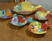 Desuir Vietri Figural Fish Colirful Serving Dish Oval Platter 16 And 4 Plates