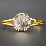 Us 2004 Texas State Quarter Coin Gold Plated Cuff Bracelet - Beautiful