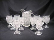 Anchor Hocking Wexford Pitcher 10 Water Goblets Set Of 11