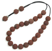Worry Beads Komboloi Red Santorini Lava Rock And Sterling Silver- Round Beads