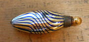 Germany Art Glass Perfume With Dabber - Lay Down, Gold With Blue Swirls