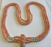 Vintage Carved Angle Skin Coral Fresh Water Pearl Multi Strand Pendant Necklace
