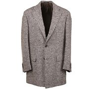 Cesare Attolini Brown And White Soft Donegal Wool Coat 40r Eu 50 Overcoat
