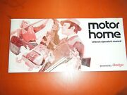 1971 Dodge Motor Home Chassis Factory Owners Manual Operators