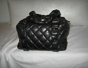 Black Quilted Distressed Leather Lady Braid Small Tote Bag Handbag