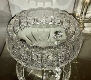 Lovely Czech Bohemian Crystal Queens Lace Footed Cut Glass Centerpiece Bowl