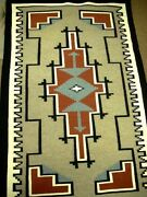 Vintage Navajo Two Grey Hills Wool Rug Hand Woven 34 X 55 C1982 Laura Mitchell