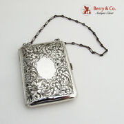 Floral Engraved Change Purse Gilt Interior Theodore Foster Bros 925 Silver 1910