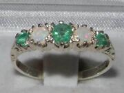 Antique Style Solid 14ct White Gold Natural Emerald And Opal Ring English Hallmark